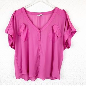 NAKED ZEBRA Hot Pink Button Down Blouse Small